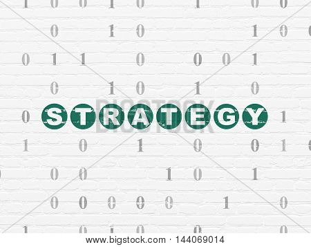 Business concept: Painted green text Strategy on White Brick wall background with Binary Code