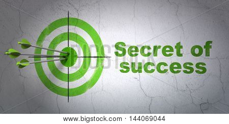 Success finance concept: arrows hitting the center of target, Green Secret of Success on wall background, 3D rendering