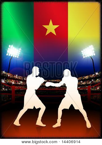 Cameroon Boxing Event with Stadium Background and Flag Original Illustration
