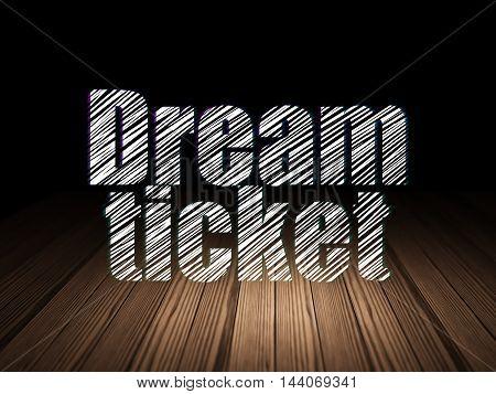 Business concept: Glowing text Dream Ticket in grunge dark room with Wooden Floor, black background