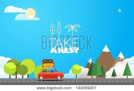 Take Vacation travelling concept with the red car. Flat design illustration. Summer season