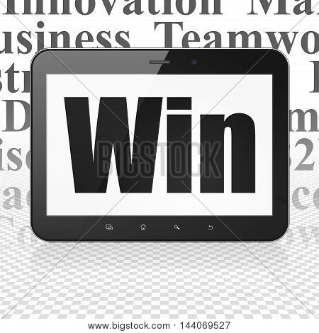 Business concept: Tablet Computer with  black text Win on display,  Tag Cloud background, 3D rendering