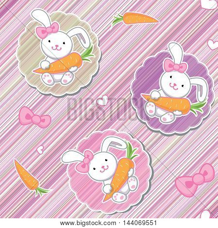 Cute funny seamless pattern with amazing cartoon bunny girls with pink bows carrots and hearts on pink lines background. Best for textures wallpaper wrapping scrapbooking. Lovely romantic Easter background in vector.