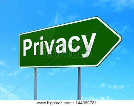 Protection concept: Privacy on green road highway sign, clear blue sky background, 3D rendering