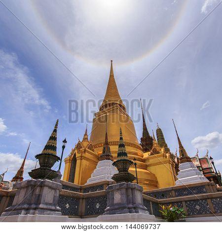 Amazing sun halo at wat phra kaew bangkok thailand