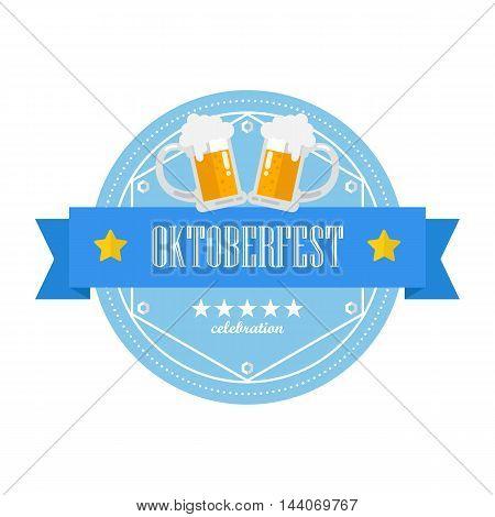 Beer festival Oktoberfest retro flat badge. Vector illustration