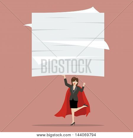 Business woman superhero lifting a lot of documents. Business concept