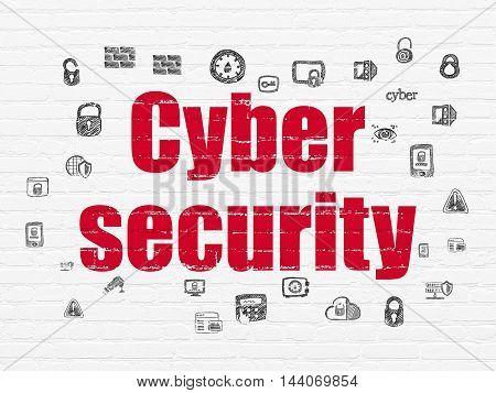 Protection concept: Painted red text Cyber Security on White Brick wall background with  Hand Drawn Security Icons