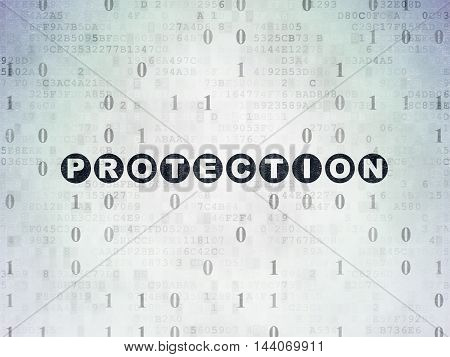 Privacy concept: Painted black text Protection on Digital Data Paper background with Binary Code