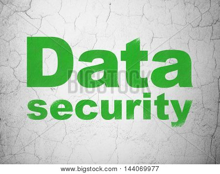Protection concept: Green Data Security on textured concrete wall background