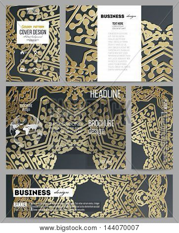 Set of business templates for presentation, brochure, flyer or booklet. Golden microchip pattern on dark background with connecting dots and lines, connection structure. Digital scientific vector.