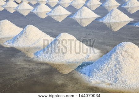Salt farm with morning light at Phetchaburi Province Thailand