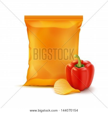 Vector Potato Ripple Crispy Chips with Paprika and Vertical Sealed Empty Orange Plastic Foil Bag for Package Design Close up Isolated on White Background
