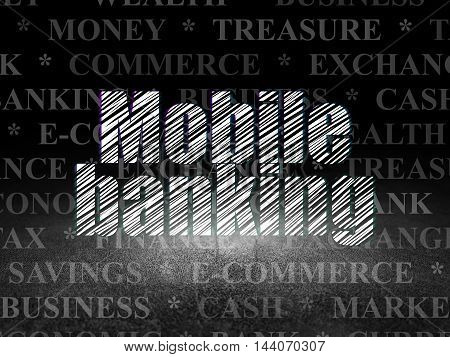 Money concept: Glowing text Mobile Banking in grunge dark room with Dirty Floor, black background with  Tag Cloud