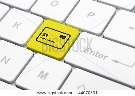 Banking concept: computer keyboard with Credit Card icon on enter button background, selected focus, 3D rendering