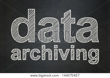 Data concept: text Data Archiving on Black chalkboard background