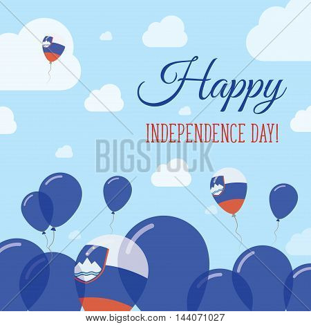 Slovenia Independence Day Flat Patriotic Design. Slovene Flag Balloons. Happy National Day Vector Ca