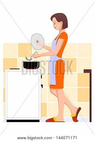 Cooking woman - Vector illustration - EPS .