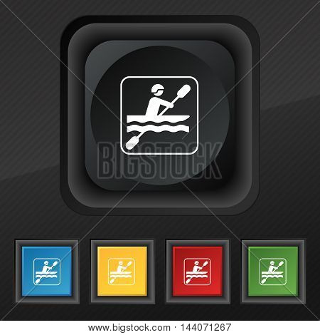 Canoeing Icon Symbol. Set Of Five Colorful, Stylish Buttons On Black Texture For Your Design. Vector