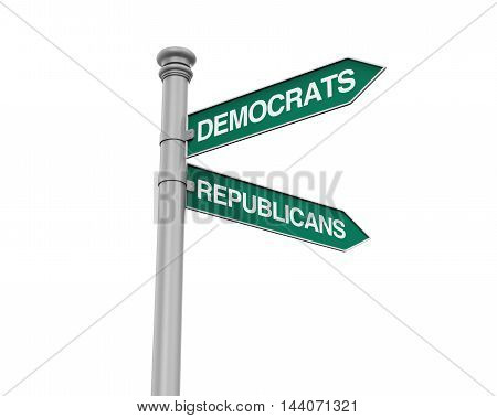 Democrats Republicans Direction Sign isolated on white background. 3D render