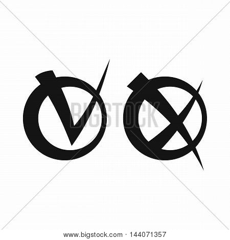Tick and cross in circles icon in simple style isolated on white background. Click and choice symbol