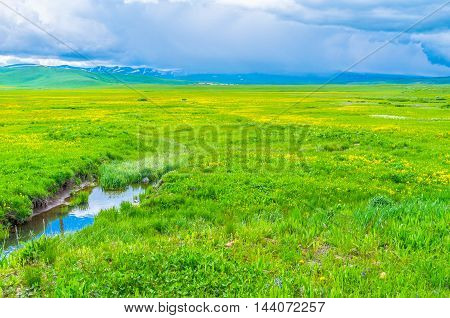 The streams flows down from the Geghama Mountain Range to the wet meadows covered with wildflowers Gegharkunik Province Armenia.
