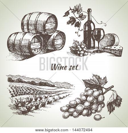 Sketch wine set. Hand drawn vector illustration
