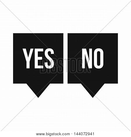 Signs of yes and no icon in simple style isolated on white background. Click and choice symbol