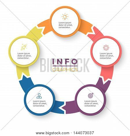 Circular arrows for infographics. Diagram with 5 steps, options, parts. Vector business template.