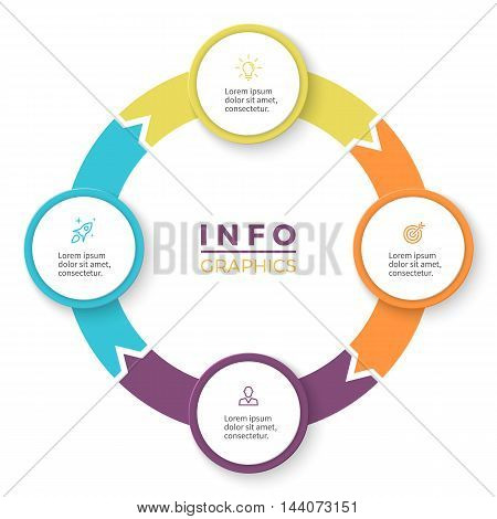 Circular arrows for infographics. Diagram with 4 steps, options, parts. Vector business template.
