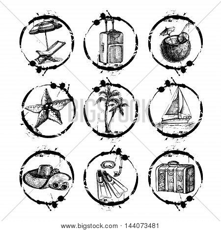 Travel and vacation stamp collection - for your design, scrapbook - in vector. Black and white travel set with hand drawn illustrations