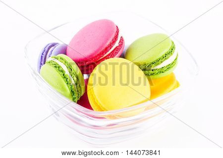 Fresh Macaroons On Wooden Table ,vintage Filter