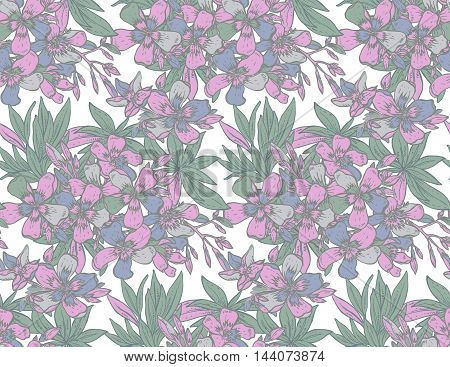 Vector seamless pattern with hand drawn rhododendron flowers. Colorful endless background.
