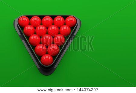 3D Snooker Balls on Table. 3D illustration