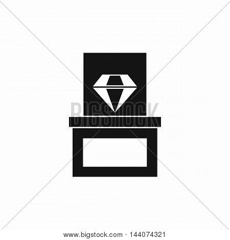 Diamond in box icon in simple style isolated on white background. Gemstone symbol