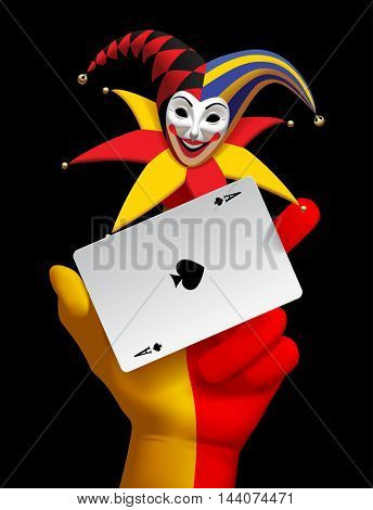 Human hand with a smiled Joker head and ace of Spades playing card isolated on the black background. Vector illustration