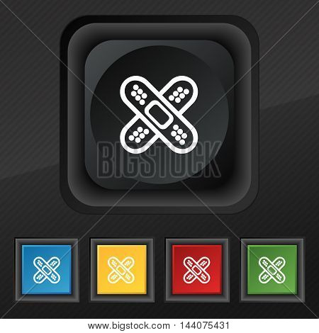 Adhesive Plaster Icon Symbol. Set Of Five Colorful, Stylish Buttons On Black Texture For Your Design