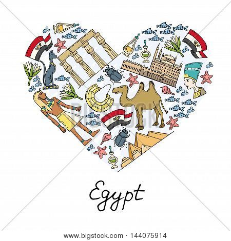 Stylized heart with hand drawn colored symbols of Egypt. Illustration on the theme of travel and tourism. Vector for use in design