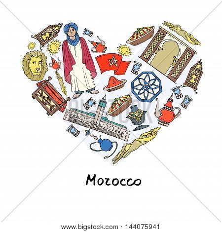 Stylized heart with hand drawn colored symbols of Morocco. Illustration on the theme of travel and tourism. Vector for use in design
