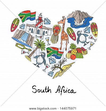 Stylized heart with hand drawn colored symbols of South Africa. Illustration on the theme of travel and tourism. Vector for use in design