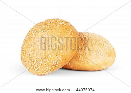 Round sandwich bun with sesame seeds isolated on white background