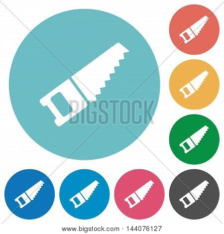 Flat hand saw icon set on round color background.