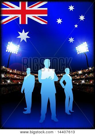 Australia Business Team on Stadium Background with Flag Original Illustration