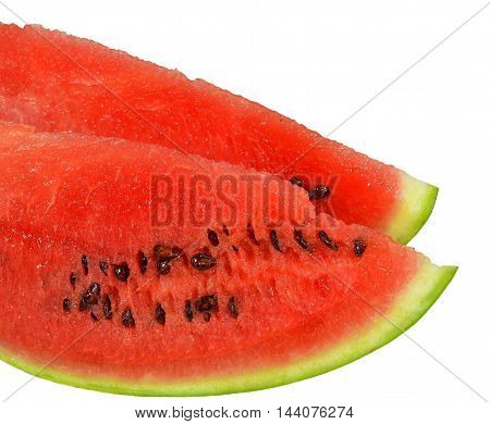 Two loaf sliced ripe juicy watermelon with red flesh and seeds, isolated on white background. Closeup