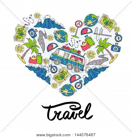 Stylized heart with hand drawn colored symbols of tourism and travel. Illustration with necessary things for car trip. Vector for use in design