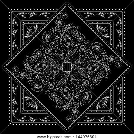 Black And White  Bandana Print With Floral Pattern. Square Pattern Design For Pillow, Carpet, Rug. D
