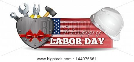 Labor Day design. Horizontal banner with an American flag helmet tools and lettering - Happy Labor Day. Vector illustration