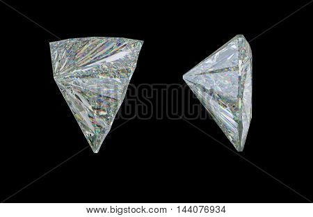 Side View Of Trillion Cut Diamond Or Gemstone On Black