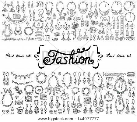 Vector set with hand drawn isolated doodles on the theme of fashion accessories. Flat illustrations of jewelry. Sketches for use in design
