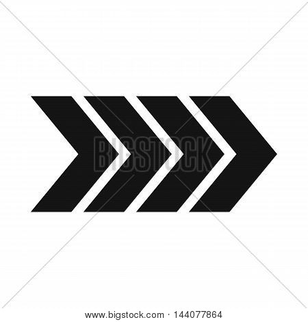 Striped arrow icon in simple style isolated on white background. Click and choice symbol